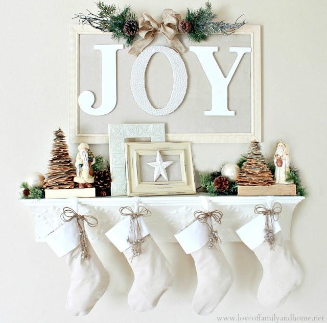 joy christmas mantel 1 Unique Christmas Mantels