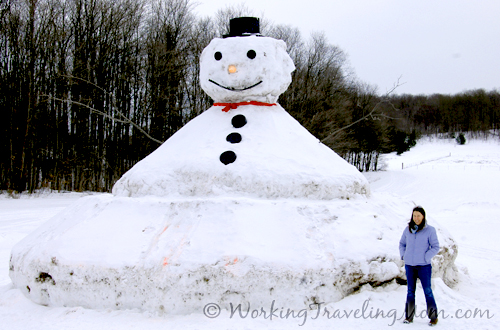 Giant snowman up north northern michigan