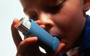 young boy using asthma inhaler child asthmatic model released