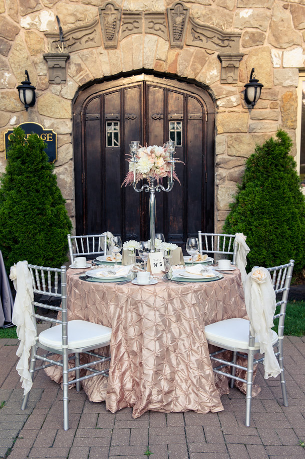 champagne blush linens silver chairs
