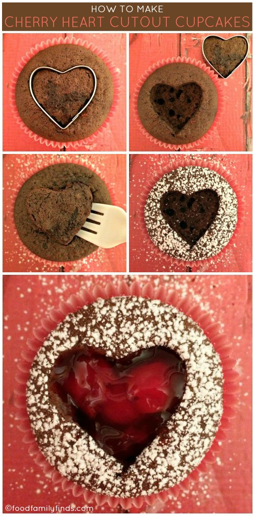 How to Make Cherry Heart Cutout Cupcakes