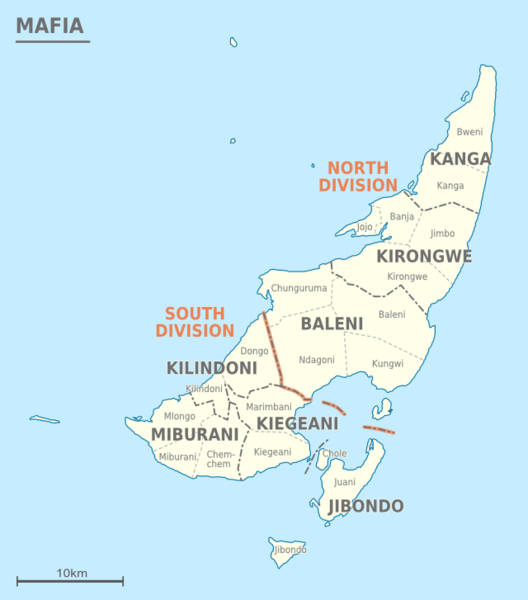 Tanzania Mafia district wards map