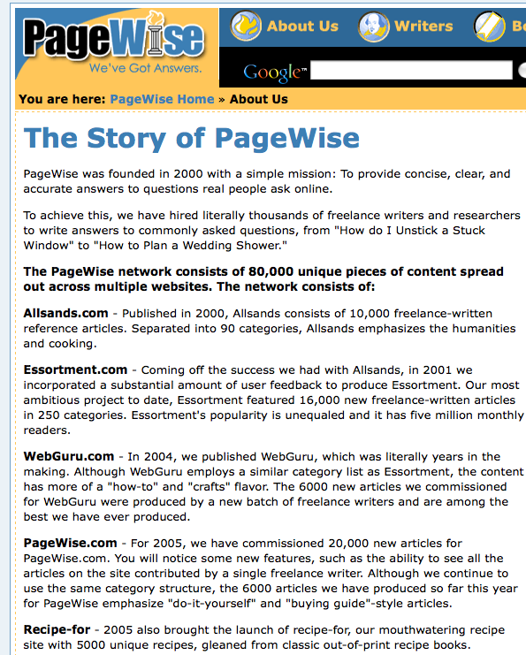 PageWise Tens of Thousands 10000s Pages Per Site