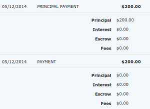 $200 Visa gift card applied to principal, not monthly payment.