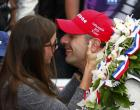KV Racing Technology driver Tony Kanaan of Brazil kisses his wife Lauren after winning the 97th running of the Indianapolis 500 at the Indianapolis Motor Speedway in Indianapolis, Indiana, May 26, 2013. REUTERS/Jeff Haynes (UNITED STATES - Tags: SPORT MOTORSPORT)