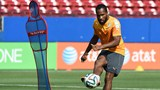 Côte d'Ivoire forward Didier Drogba in training