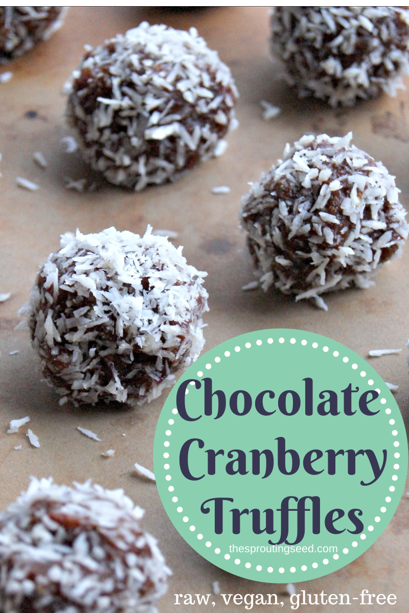 chocolate cranberry truffles (gluten free, raw, vegan) thesproutingseed.com