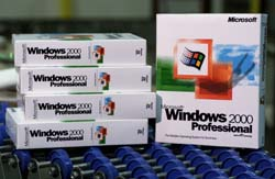 Copies of Windows 2000 are now available for business customers in more than 60 countries around the world.
