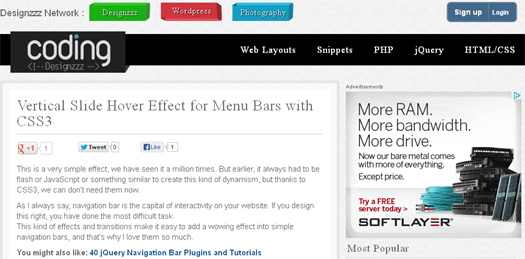 Vertical Slide Hover Effect for Menu Bars with CSS3