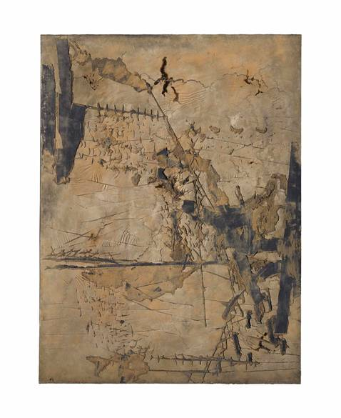 Antoni Tapies, Large Ochre with Incisions, 1961