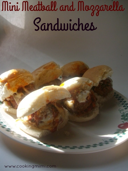 Mini meatball and mozzarella sandwiches are prefect for game day or any day eats.