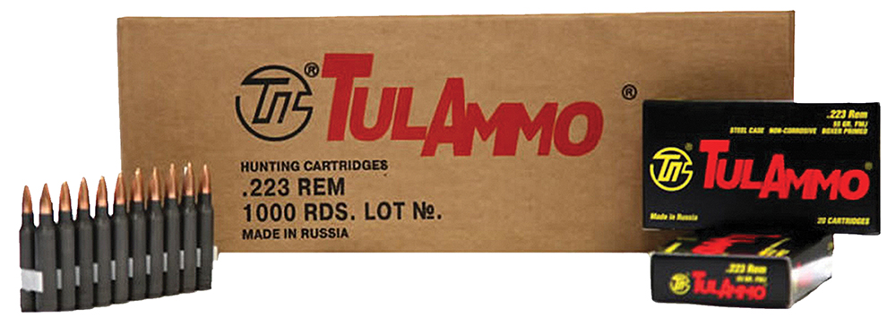 Tulammo TA223550 223 Remington/5.56 NATO FMJ 55 GR Steel Case 20Box/50Case