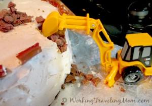Caterpillar construction site birthday cake