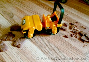 Caterpillar steam roller crushes bunny crackers