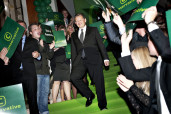 Leader of Denmark's Conservative Party Barfoed is surrounded by supporters as he arrives at Hotel Marriot as votes are being counted during the general election in Copenhagan