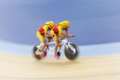 Clemente Solano and Munoz of Spain compete in Men's Individual B Pursuit bronze medal final on first day of London 2012 Paralympic games in Stratford