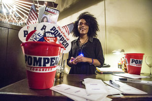 Supporters of congressman Mike Pompeo gather at the Candle Club for the election night watch party in Wichita Tuesday, Aug. 5, 2014.