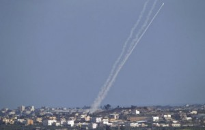 A Hamas rocket is fired toward Israel on July 16.    /Ariel Schalit/AP