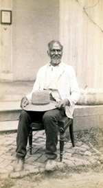 Betty's son Alfred sitting by the Hermitage South Portico, c. 1890.