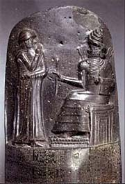 Anrafel / Hammurabi receber o 'Código de Hamurabi' de Shamash