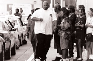 Suge Knight outside the hospital a few days after the shooting.