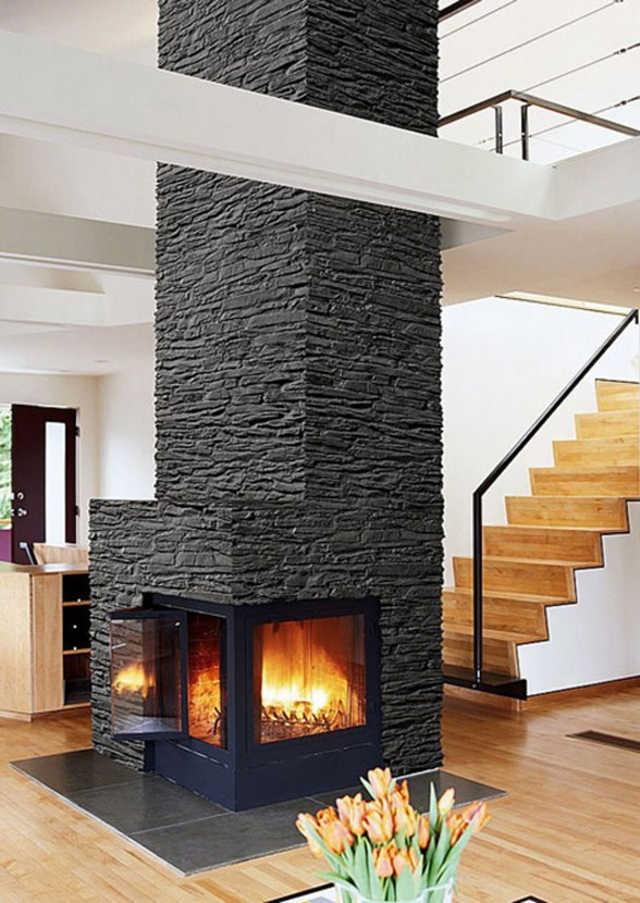 integrated wall decal fireplaces ideas