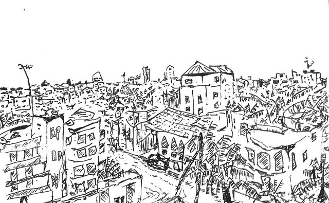 sketch of the north dakar skyline in senegal