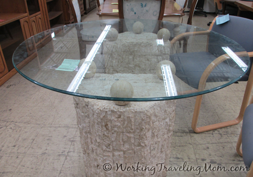 thrift store glass concrete table