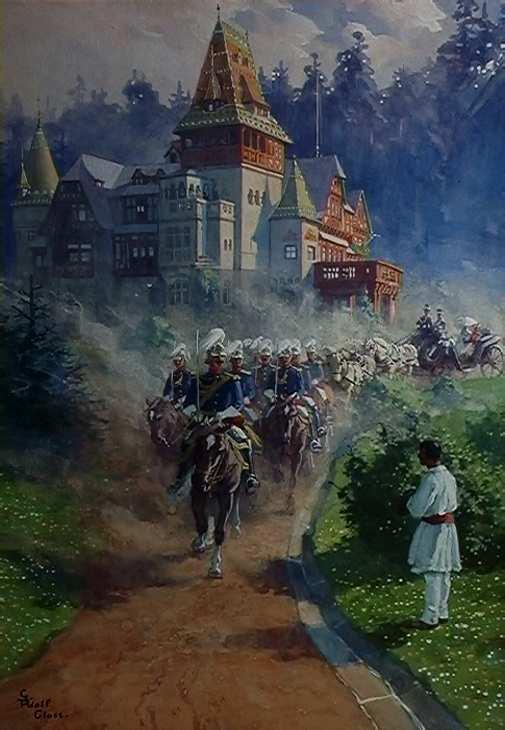Inaugurarea castelului Pelişor Acuarelă /carton Autor Gustav Adolf Closs, şcoala germană Dim: 67/50 cm, semnat stg.jos, cu negru Inv.15808, M.N.Peleş