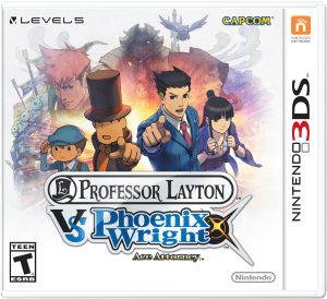 N3DS ProfLaytonVsPhoenixWright Package 300x274 E3 2014 Professor Layton vs. Phoenix Wright: Ace Attorney (3DS) English Logo, Box Art, Artwork, Screenshots, & Trailer