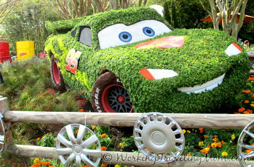 "Ca-chow! Lightning McQueen of ""Radiator Springs"" comes to the Epcot Flower and Garden Festival."