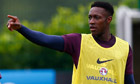 England's Danny Welbeck gestures during a training session