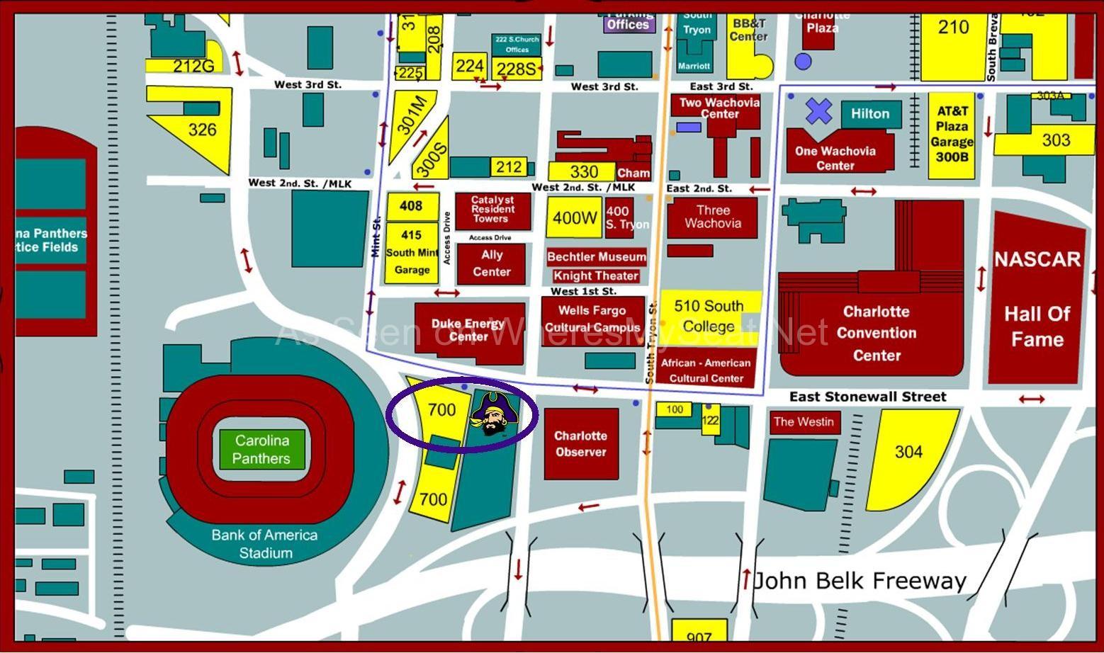 Bank of America Stadium Parking Map Bank of America Stadium, Charlotte NC