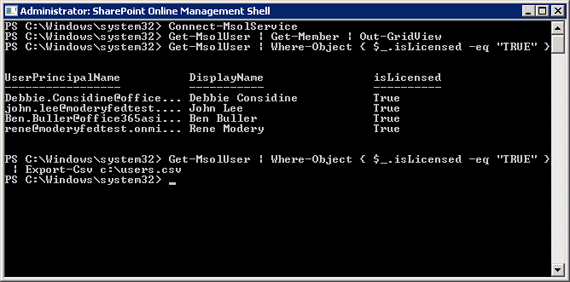 A screen shot of exporting licensed users to Excel
