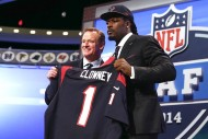 Goodell (left) with first-round pick Jadeveon Clowney during the 2014 NFL draft