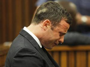 Oscar Pistorius cries as the judge reads out the verdict during his murder trial
