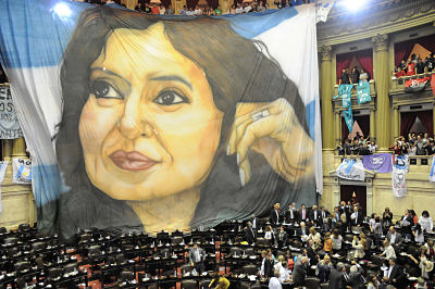 A banner with the image of Argentine President Cristina Fernandez de Kirchner being displayed at the Congress in Buenos Aires on Oct. 31, 2012. (Getty)
