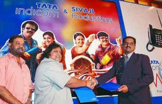 Mr M.A. Madhusudan, Chief Operating Officer, Tata Teleservices - Tamil Nadu and Kerala circles (right), with Mr Ramkumar (centre) of Sivaji Productions and Mr P. Vasu, director of the film `Chandramukhi', at a press conference in Chennai on Monday. Bijoy Ghosh