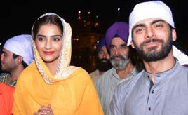 Actors Sonam kapoor and Fawad Khan pays obeisance at Golden temple in Amritsar