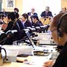 The Committee on the Elimination of Racial Discrimination looks into issues related to Japan in a session held in Geneva on Aug. 21. (Ichiro Matsuo)