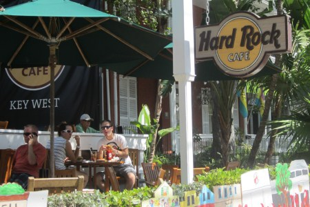The side of the Hard Rock Cafe in Duval Street.
