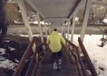 Démonstration de ski urbain