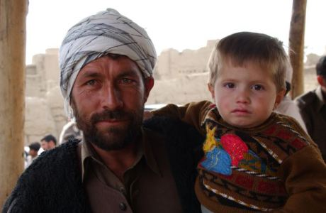 Afghan father and his son