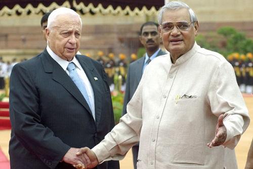 Israeli Prime Minster Ariel Sharon shakes hands with Indian Prime Minister Atal Bihari Vajpayee, 2003.