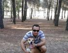 Teresa Ramos's husband Javier poses with their dog Excalibur, who is set to be euthanized.