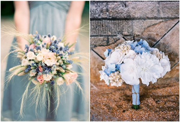 blue gray bridesmaids bouquet, blue and wheat bouquet, antique and blue hydrangea bouquet, blue wedding ideas
