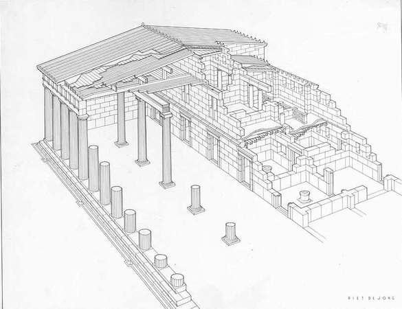 P. De Jong, Restored Perspective of the South Stoa, Corint, photo: American School of Classical Studies, Digital Collections