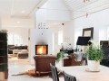 Fireplace at Spacious and Bright Villa Design in Sweden