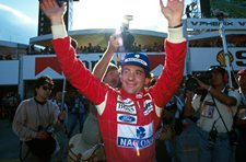 Ayrton Senna celebrates his win Japanese Grand Prix, Suzuka, 24 October 1993