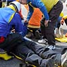 A large-scale exercise is under way by the council of disaster responses at the Fuji Subaru Line 5th Station on Mount Fuji in June 2013. (Asahi Shimbun file photo)